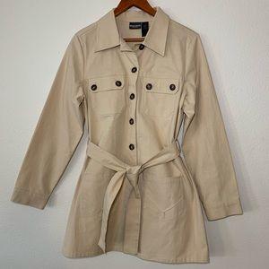 Bisou Bisou camel belted trench coat